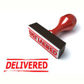 3d stamp delivered — Stock Photo