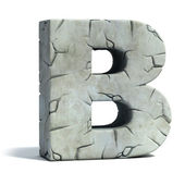 Letter B cracked stone 3d font — Stock Photo
