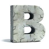 Letter B cracked stone 3d font — Stock Photo