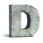 Letter D cracked stone 3d font — Stock Photo