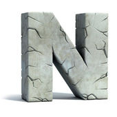 Letter N cracked stone 3d font — Stock Photo