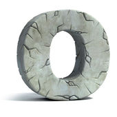 Letter O cracked stone 3d font — Stock Photo