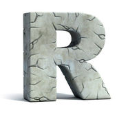 Letter R cracked stone 3d font — Stock Photo