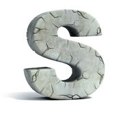 Letter S cracked stone 3d font — Stock Photo