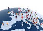 Continente europeu marcado com bandeiras — Foto Stock