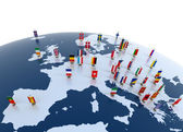European continent marked with flags — Stock Photo