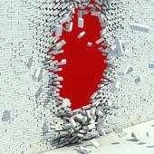 Broken brick wall - destruction 3d concept — Stock Photo