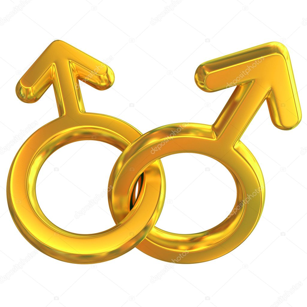 Two male symbols crossed representing gay relationship, golden, isolated over white background, 3d concept  — Stock Photo #9976459