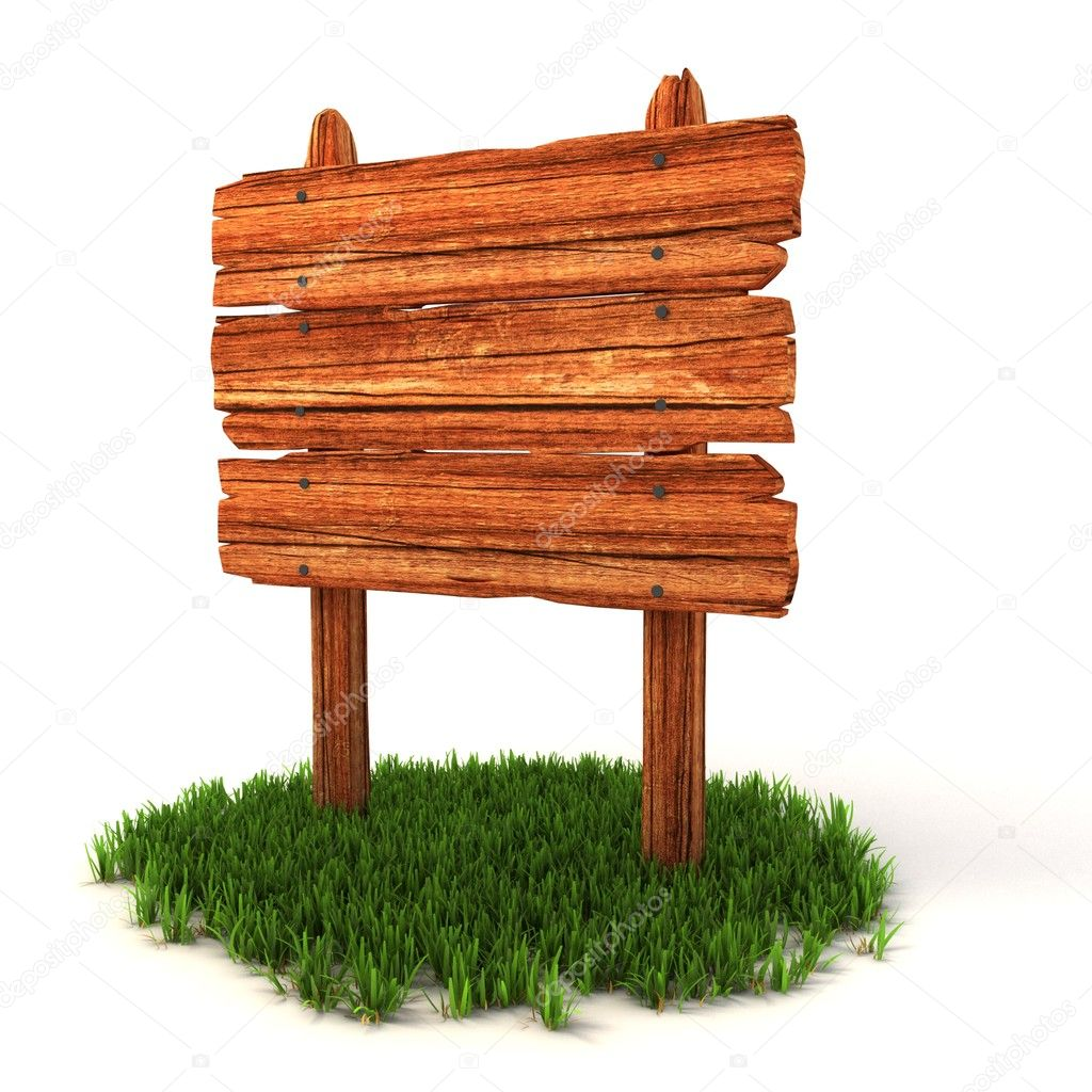 Old wooden billboard on the grass isolated on white background 3d illustration — Stock Photo #9976950
