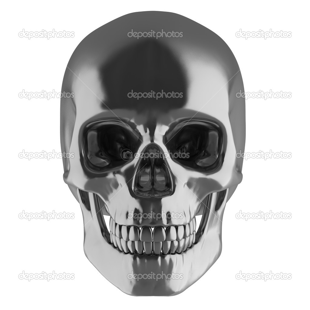 Silver skull 3d illustration — Stock Photo #9977318