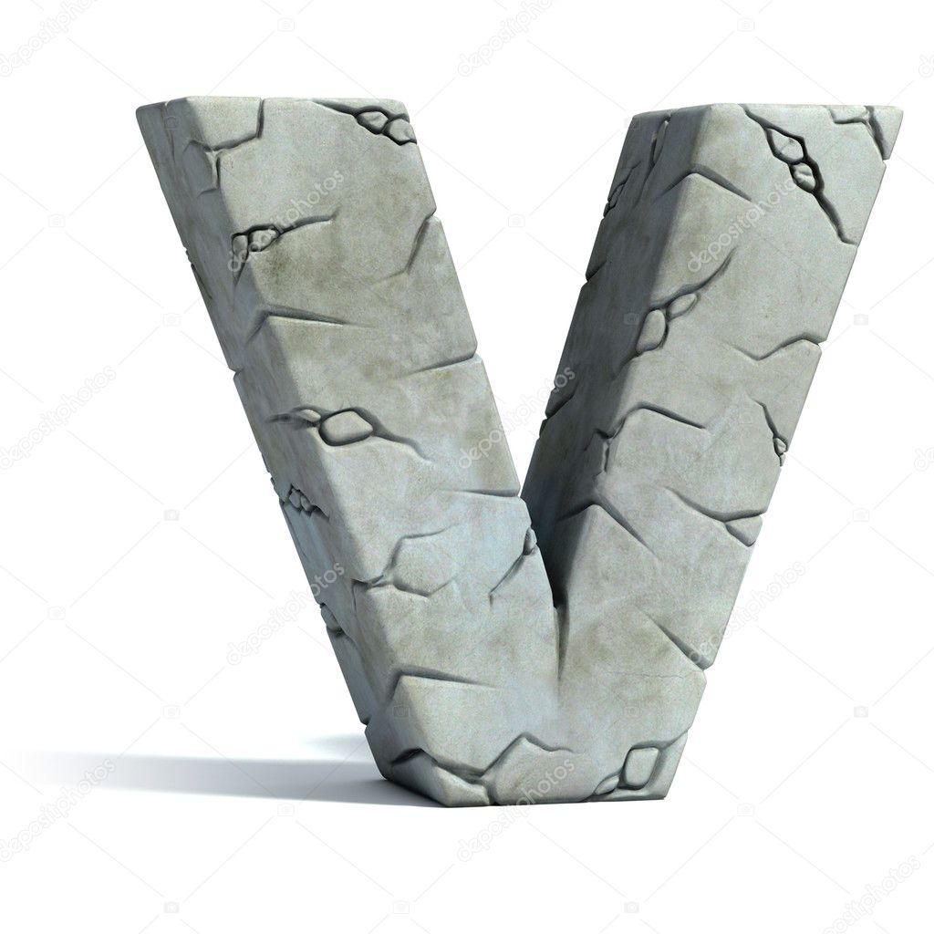 lettre v fissur pierre 3d police photographie koya979 9978356. Black Bedroom Furniture Sets. Home Design Ideas