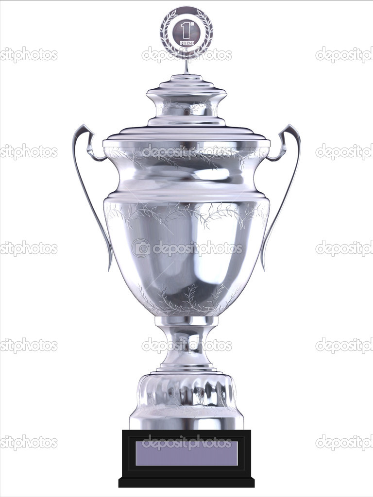 Silver champion trophy isolated illustration  Stock Photo #9979683