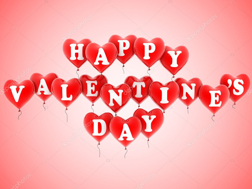 Happy valentine&#039;s day balloons 3d illustration  Stock Photo #9979808