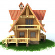 Wooden house on white background — Stock Photo