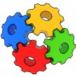 Colorful gears on white background — Stock Photo