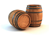 Two wine barrels isolated on the white background — Stock Photo