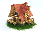 Log house on white background — Stock Photo