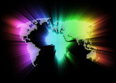 Abstract glowing hi-tech world map as background — Stock Photo