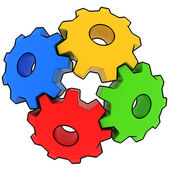 Colorful gears on white background — 图库照片