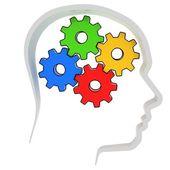 Gears instead of brain in the human head — Stock Photo