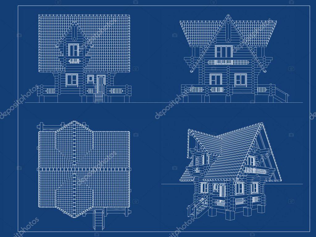 Log House Blueprint Stock Photo Koya979 9983996