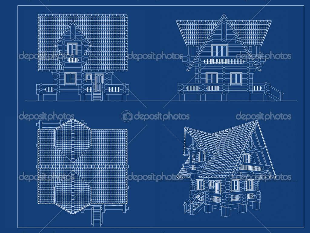 Log house blueprint stock photo koya979 9983996 for Blueprints for my house