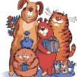 Постер, плакат: Dogs and cats congratulate on the holiday