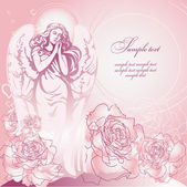 Pink guardian angel among the roses — Stock Vector