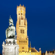 Стоковое фото: Belfry and market of Bruges at night, Belgium.