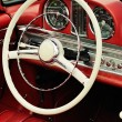 Stock Photo: Dashboard and steering wheel of collectors car