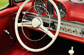 Dashboard and steering wheel of collectors car — Stok fotoğraf