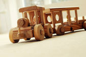 Wooden toy train — 图库照片