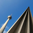 Television tower with triangle in Berlin — Stock Photo
