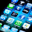 Social MediApps on Apple iPhone 4 — Stock Photo #9661457