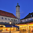 Viktualienmarkt and Heiliggeist Church, Munich, Germany. — Stock Photo #9661690