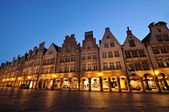 Night shot of the Prinzipalmarkt square at Muenster — Stock Photo