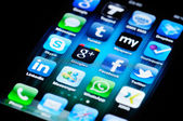 Social Media Apps on Apple iPhone 4 — Stock Photo