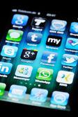 Social Media Apps on Apple iPhone 4 — Stock Photo