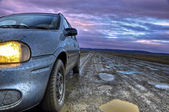 A Car on a Dirt Road in Tierra del Fuego, Argentina — Stock Photo