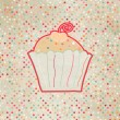 Vintage card with cupcake. And also includes EPS 8 — Stock Vector