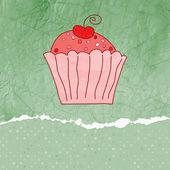Retro-karte mit cupcake. eps 8 — Stockvektor