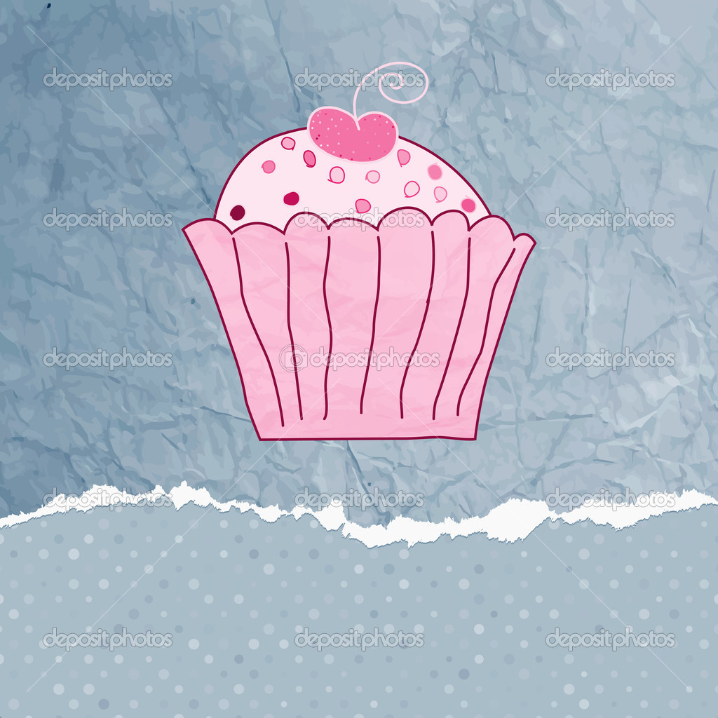 Retro card with cupcake. EPS 8 vector file included  Stock Vector #10370347