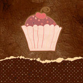 Vintage birthday card with cupcake. EPS 8 — Stock Vector