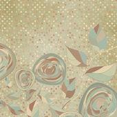 ビンテージ ローズとロマンチックな花カード. — ストックベクタ