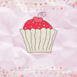Royalty-Free Stock Imagen vectorial: Retro valentine card with cupcake. EPS 8