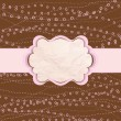 Vector de stock : Brown and pink valentine vintage card. EPS 8