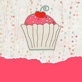 Retro valentine card with cupcake. EPS 8 — Stock Vector