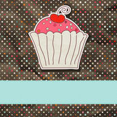 Retro card with cupcake. EPS 8 — Stock Vector