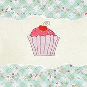 カップケーキとレトロなカード。eps 8 — ストックベクタ