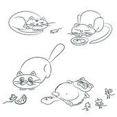 Kat en muizen op hand getrokken schets opmerking. eps 8 — Stockvector